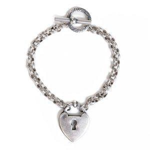 LA VIE PARISIENNE Silver PlatedHeart Lock Bracelet